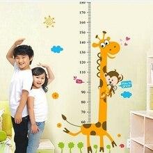 1 шт. ПВХ дети диаграмма роста высоты измерения стикер стены Детская комната Декор животное наклейка