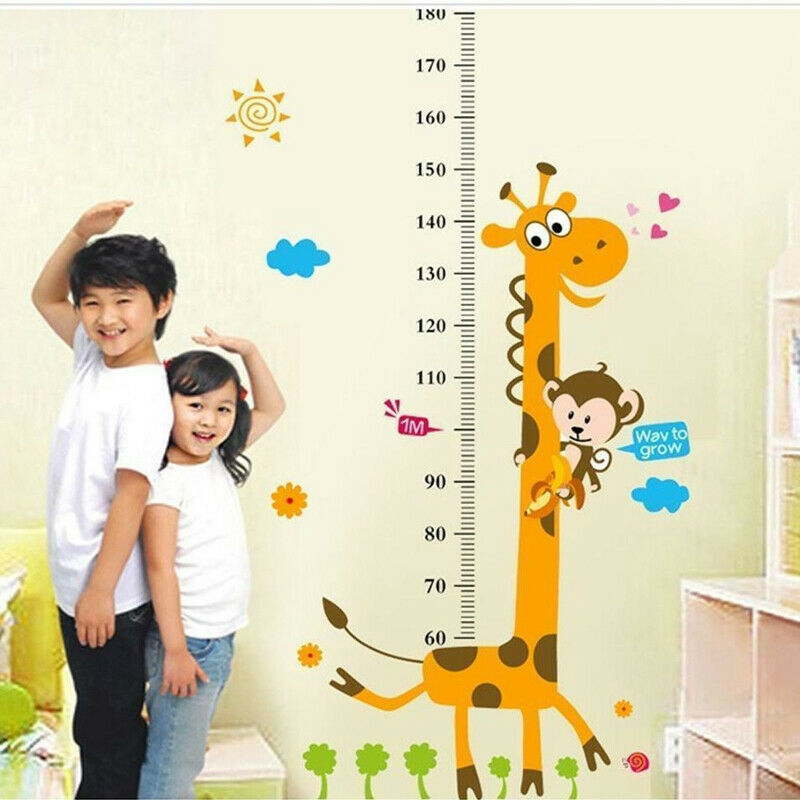 1pc PVC Children Height Growth Chart Measure Wall Sticker Kids Room Decor Animal Decal