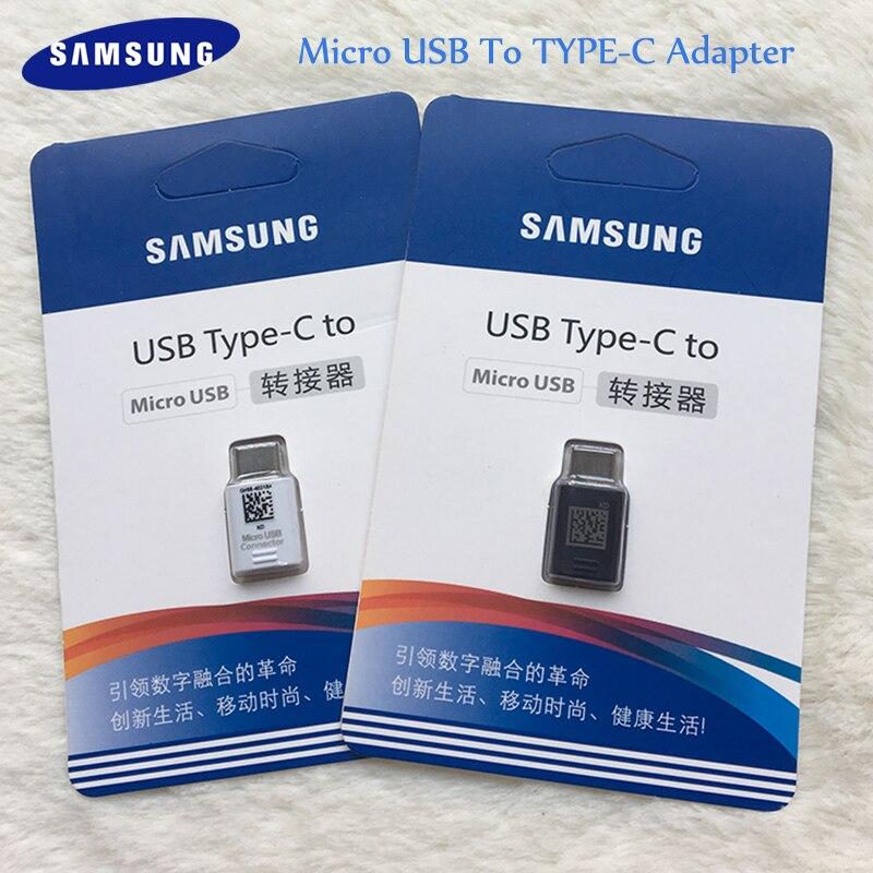 Original Samsung Micro USB a TypC C Conversor Adaptador para Galaxy A80 A70 A50 Negro