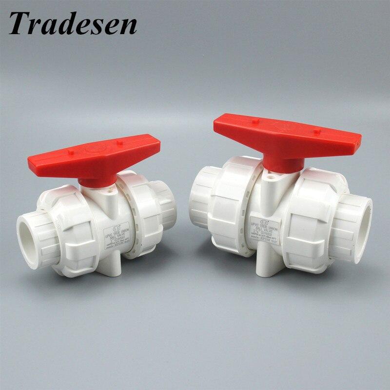 1pc White 20mm 25mm 32mm 40mm 50mm PVC Ball Valve Union Valve PVC Water Pipe Connector Plumbing Hose Fittings Slip Shut Valve