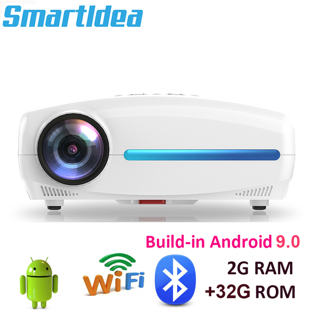 Smartldea Build in Android 9.0 2G + 32G Wifi Projector native 1920x1080P Full HD video game Proyector LED 3D Home cinema Beamer
