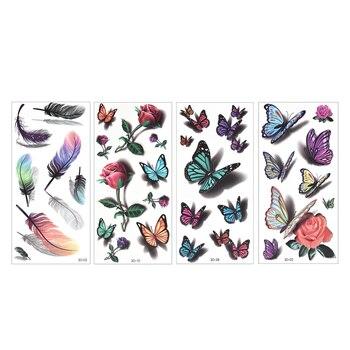 Temporary Tattoos Sticker for Women Body Art Tattoo Sticker 3D Butterfly Rose Flower Feather Tattoo Waterproof Halloween Gift 6