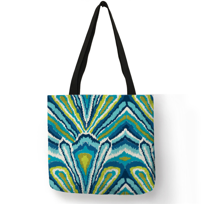 B13013 Abstract Geometry Feather Print Tote Bag School Shoulder Bags Large Capacity Shopper Bag