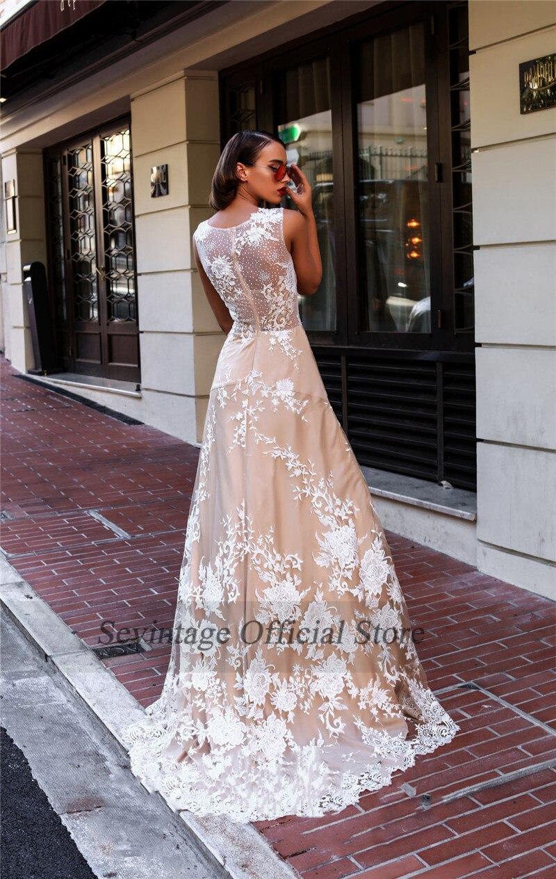 Sevintage Illusion Scoop Tulle Wedding Dresses Boho Lace Long Bridal Gowns Sheer Back Wedding Gowns Beach Vestido De Noiva 2020