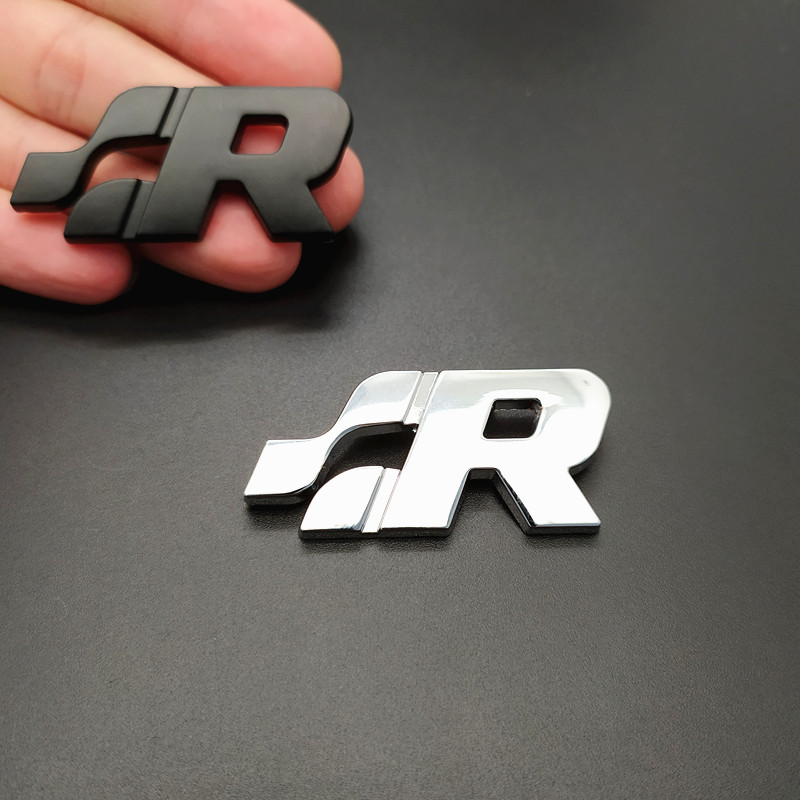 3D Zinc Alloy R <font><b>Logo</b></font> Car Badge Decal Grill Side Rear Trunk Emblem <font><b>Sticker</b></font> for <font><b>Volkswagen</b></font> Polo <font><b>Passat</b></font> <font><b>B5</b></font> B6 B7 Golf Jetta Touareg image