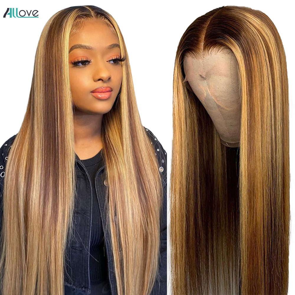 Allove Highlight Wig  5X5 Lace Closure Wig Honey Blonde Lace Front Wigs Ombre Bone Straight Lace Front  Wigs 1
