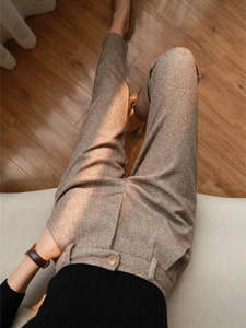 Suit Pants Women Trousers Harem Autumn High-Waisted Office Lady Winter Casual Herringbone