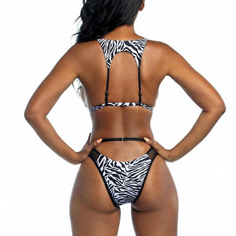 Traje de baño de cintura alta para mujer, traje de baño con tiras de bikini brasileño, bañador de malla para mujer, ahuecado, biquini 2019