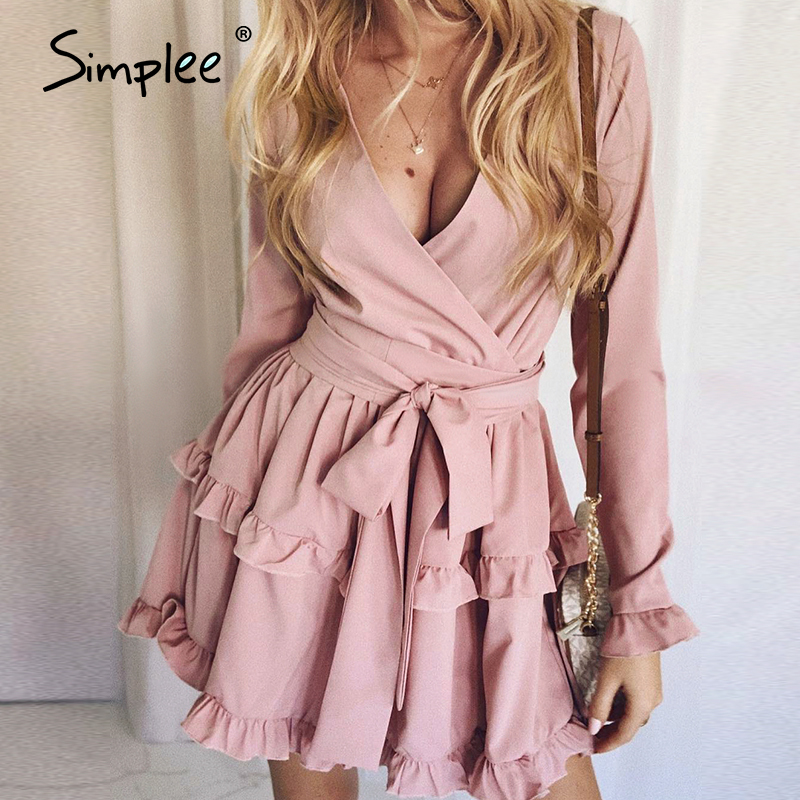 Simplee Sexy V-neck Women Dress Ruffled Long Sleeve Solid Work Sash Summer Dress Streetwear Ladies Chic Holiday Party Dress 2020