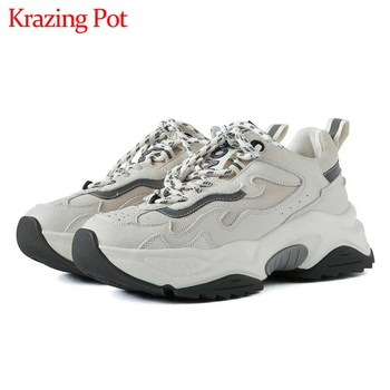 Krazing pot new maiden streetwear genuine leather white sneaker mixed colors round toe thick bottom lace up vulcanized shoes L05