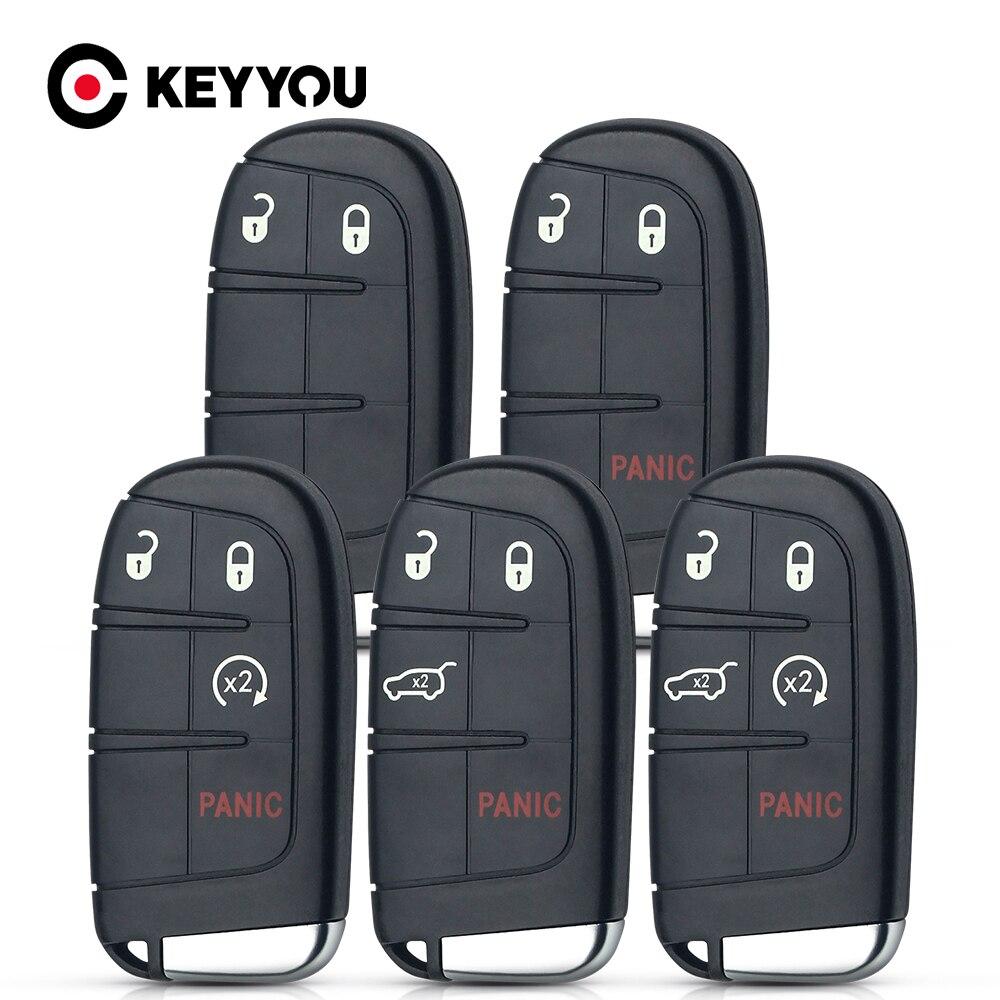 Кнопочный чехол KEYYOU 2/3/4/5 для Chrysler Jeep Cherokee Dodge Ram 1500 Journey Charger Challenger автомобильный смарт-ключ вставка пустой чехол
