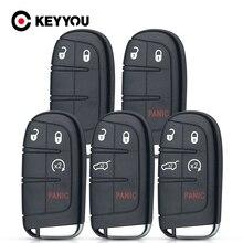KEYYOU 2/3/4/5 Button For Chrysler Jeep Cherokee Dodge Ram 1500 Journey Charger Challenger Car Smart Key Shell Insert Blank Case