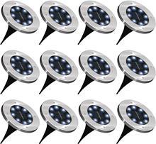 Nouveau 12Pack 8 LED Solaire Alimenté Disque Lumières Extérieure Étanche Éclairage de Paysage de Jardin pour Jardin Terrasse Pelouse de Voie de Patio Passerelle