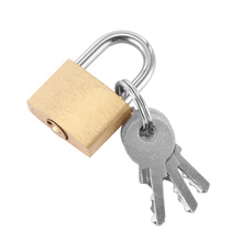Lock-Padlock Safe-Lock Cabinet Luggage Security Lovers Gold with 3-Keys Case Mini Silver-Tone