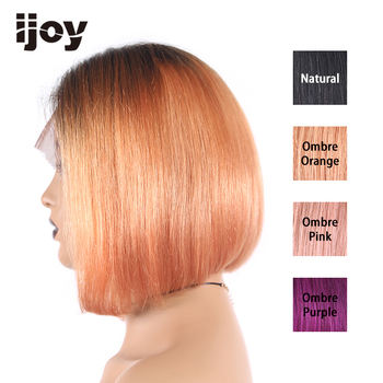 "Ombre Colored Wigs 4x13 Lace Front 8"" T1B Orange/Pink/Purple Straight Bob Wigs 150% Women Brazilian Human Hair Non-Remy IJOY"