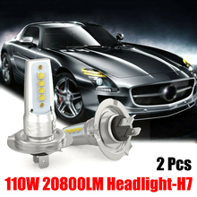 цена на 2pcs Auto Headlamp Fog Light Bulb H7 Car LED Headlight Bulbs Conversion Kit Hi/Lo Beam 110W 6000K Super Bright