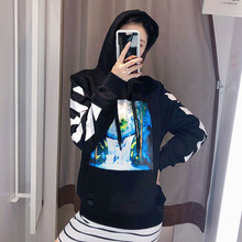 Autumn 2019 Black Sanitary Clothes Falls Limit Hats and To Wear Coats Print Hoodie Women Sweatshirt