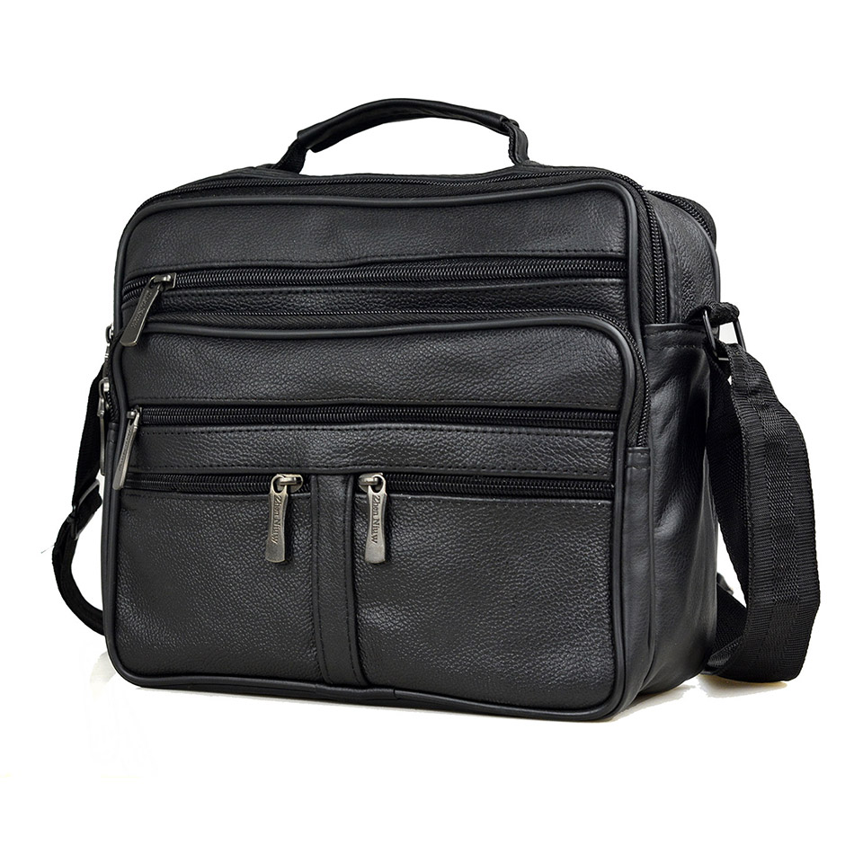 Men Genuine Leather + PU Leather Handbags Large Leather Men's Messenger Bags Male Horizontal Travel Shoudler Bag