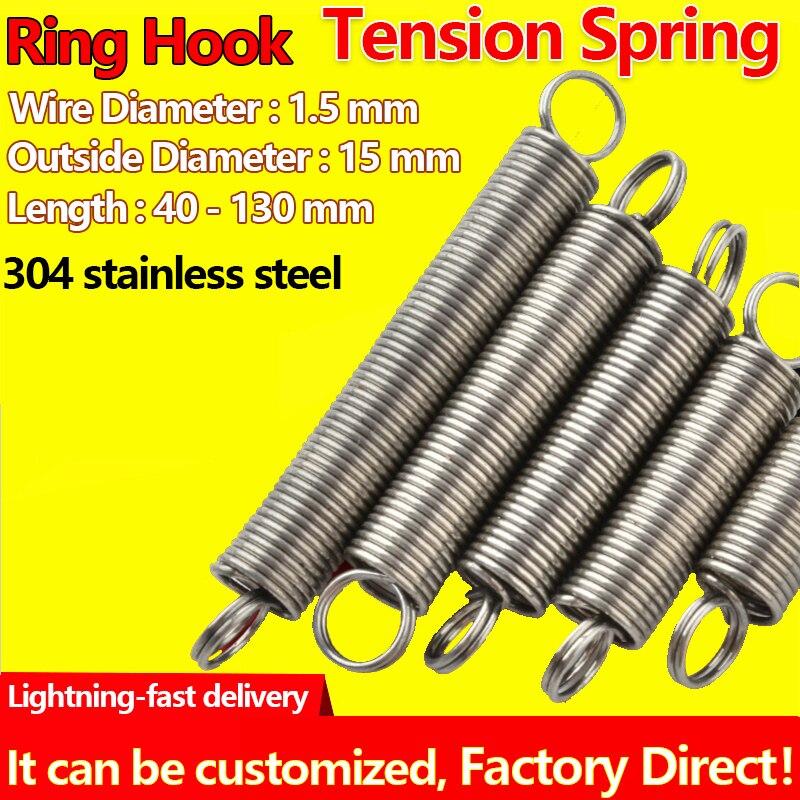 304 diâmetro exterior do fio da mola da bobina de extensão de aço inoxidável 1.5mm diâmetro 15mm anel gancho mola de tensão pullback