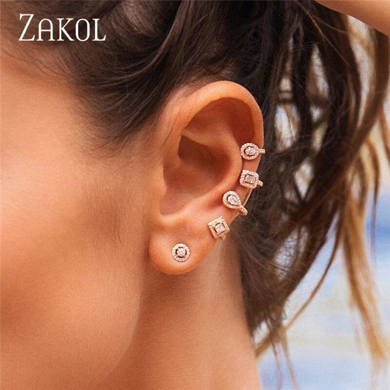 ZAKOL, панк стиль, несоответствие, чудесные циркониевые серьги гвоздики для женщин, модные ювелирные украшения, серьги каффы FSEP2027
