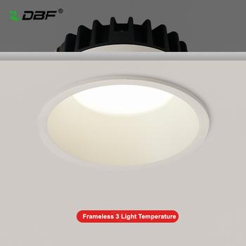 [DBF] bezramowe 3 zmienne temperatury światła antykorozyjne ściemniania LED typu Downlight przeciwodblaskowe led lampy sufitowe LED lampy punktowe tanie i dobre opinie Pokrętło przełącznika 90-260 v Light Temperatures Changeable Łóżko pokój ROHS 2years Aluminium