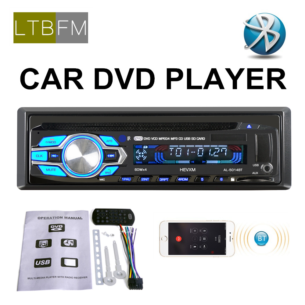 LTBFM 2.5 inch Universal 1 Din Car Radio 12V Car DVD Player Bluetooth Audio Radio Stereo AUX FM MP3 USB SD Card Remote Control image