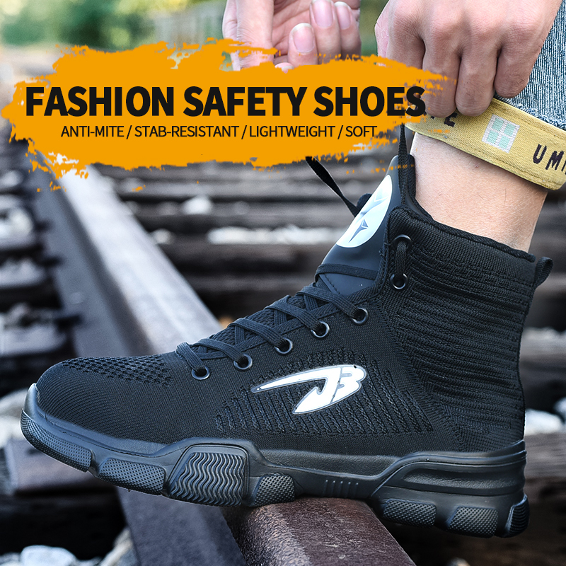 Work Shoes Safety Boots Man Toe Breathable Non Slip Light Weight Fashionable Anti Smashing Puncture Proof Ourdoors High Cut