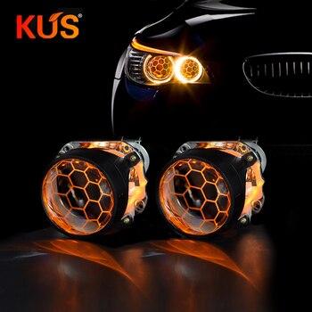 2 piezas de 2,5 pulgadas con revestimiento azul nido de abeja Mini lente de proyector Bi Xenon Fit H4 H7Car faro coche motocicleta conjunto de montaje