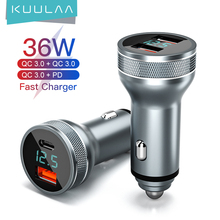 KUULAA 36W USB Car Charger For Xiaomi Samsung S10 QC4.0 QC3.0 Type C PD Car Charging For iPhone 11 X XS 8 PD Charger