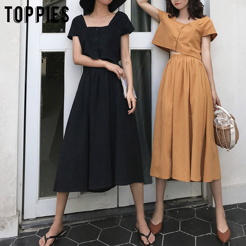2020 Cotton Linen Sets Summer Two Piece Set Korean Vacation Beach Crop Tops Women High Waist A-line Skirts