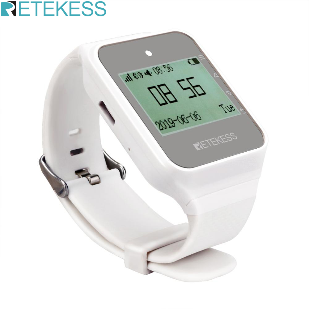 RETEKESS TD108 Multi Language Wireless Watch Receiver Wireless Calling System Pager Restaurant Equipment Customer Service Cafe|Pagers| |  - title=