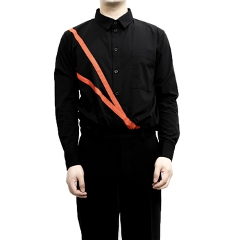 S-6XL!!Male shirt pure cotton stripe stitching black department casual style red stripe slim.