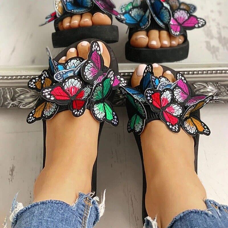 Femmes été pantoufles Bow broderie diapositives plate-forme PVC sandales dames tongs plage sandales chaussures Femal grande taille 40