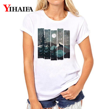 Women T-shirt 3D Print Snow Forest Tree Graphic Tee Casual Lady Summer White T shirts Short Sleeve Tops