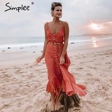 Simplee 우아한 폴카 도트 boho 여성 미디 여름 드레스 섹시한 v 넥 스트랩 버튼 a 라인 드레스 여성 프린트 비치 vestidos