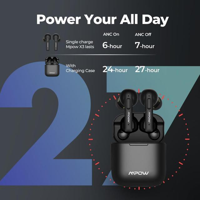 Mpow X3 Bluetooth 5.0 True Wireless Earbuds Active Noise Cancelling Earphones
