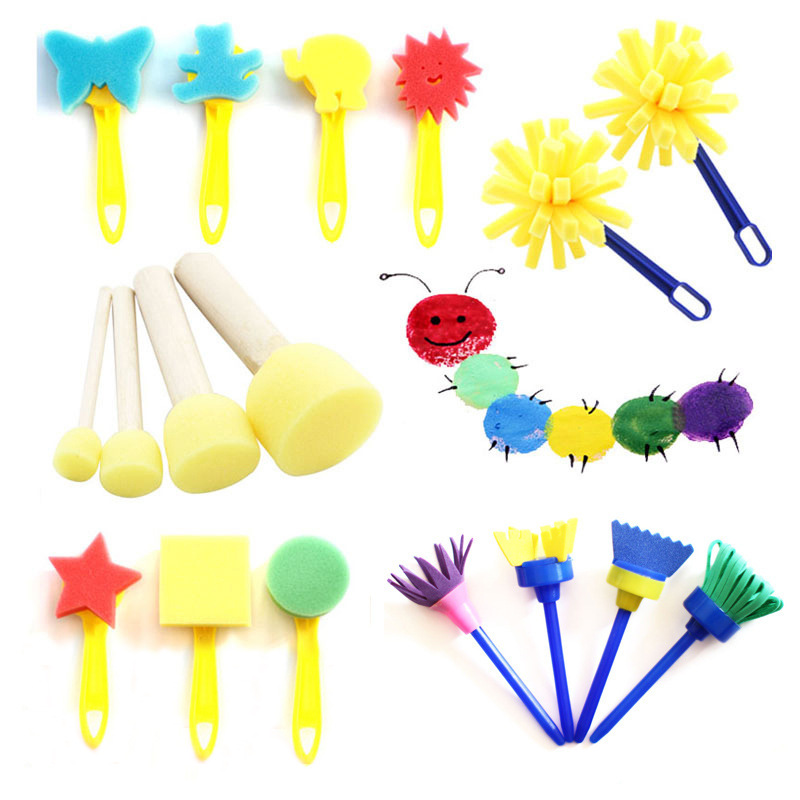 Sponge Painting Brushes Kids Painting Kits Early Learning Drawing Toys For DIY Art Crafts