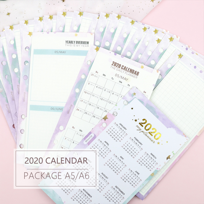MyPretties Fantasy 2020 Calendar Yearly Monthly Planner Refills A5 A6 Three Fold Filler Papers For 6 Hole Binder Organizer