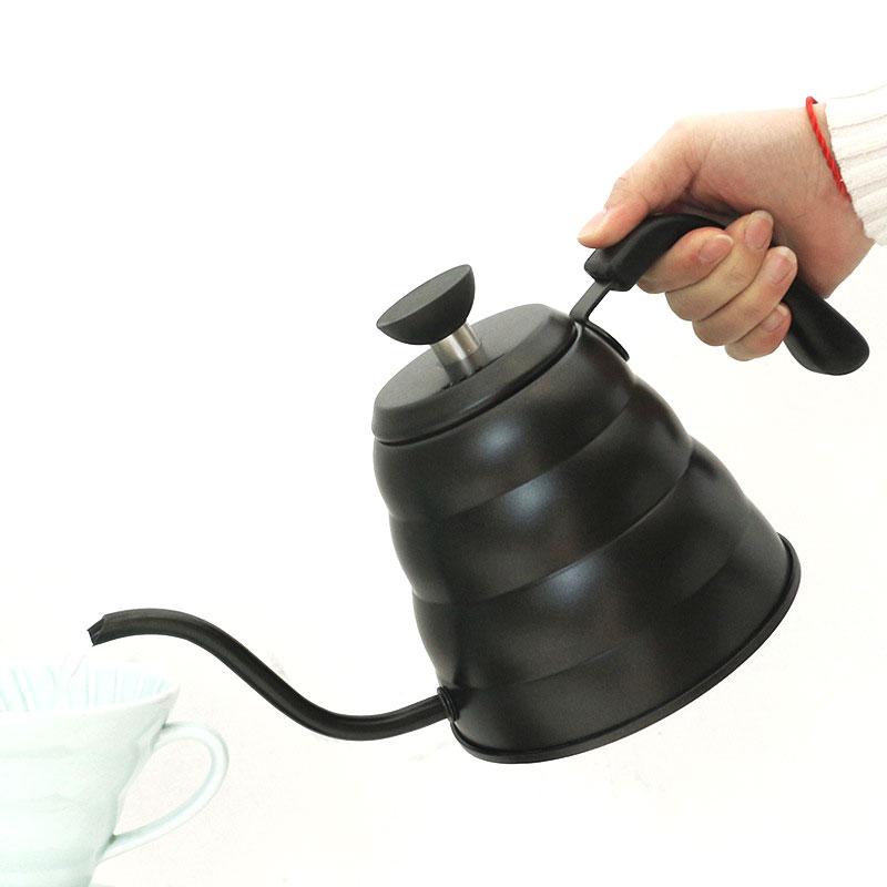 Acier inoxydable verser sur la bouilloire à café avec thermomètre, température exacte et bec de col de cygne-1 et 1.2 litres théière
