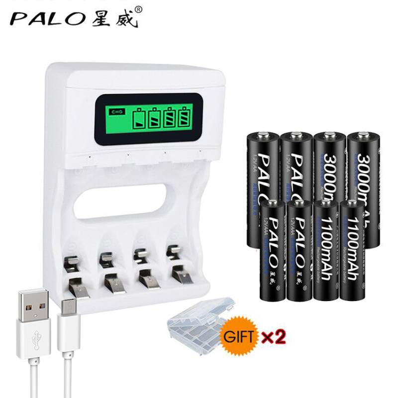 PAlO Trave USB Charger Smart LCD Intelligent Rechargeable Battery Charger For Ni-Cd Ni-Mh AA/AAA Battery+4pcs AA+4pcsAAA Battery