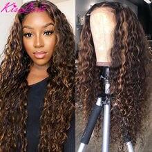 KissLove destacar Ombre peluca con malla frontal 13x4 rizado pelucas de cabello humano 4/27 de la onda profunda pelucas para mujeres Remy Cierre de encaje pelucas de pelo