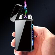 Двухдуговая плазменная Электронная зажигалка импульсная индукция электронные гаджеты плазменная Usb зарядка Зажигалка для мужчин подарок