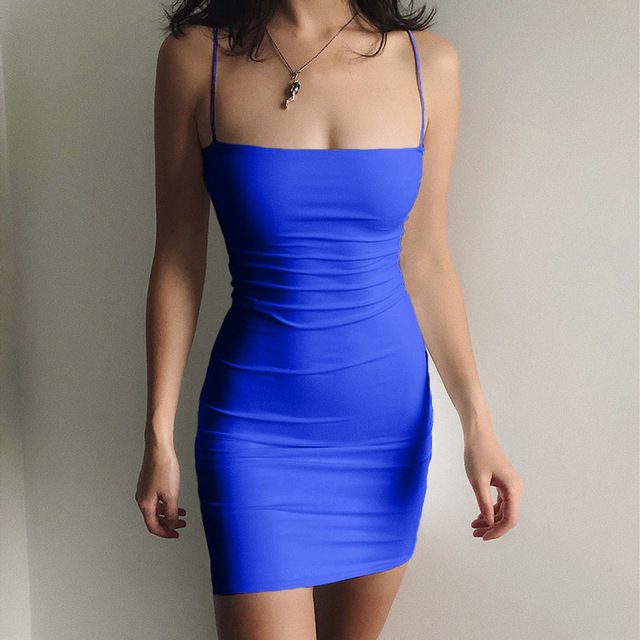6 Solid colors Sexy Dress Women Spaghetti Strap Dresses Female High Waist Sheath Club Dress Summer Sexy Mini Sleeveless Vestidos 6