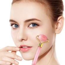 Rose Quartz Double Heads Jade Roller Slimming Facial Roller Massage Face Slimming Body Neck Head Lif