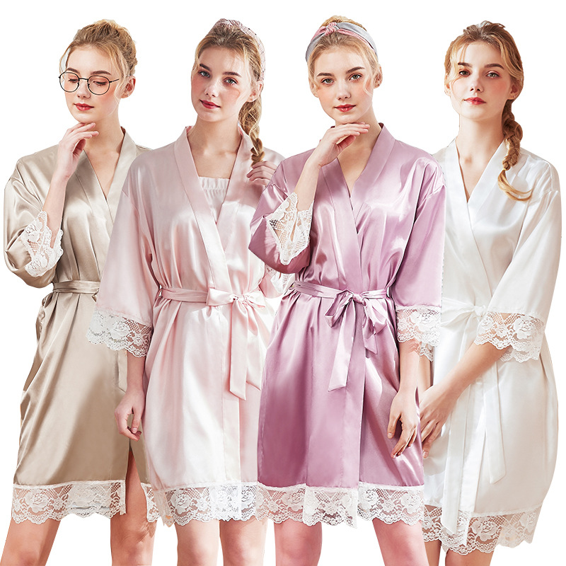 Women Silk Sexy Lace Kimono Satin Bathrobe Knee Length Bridesmaid Bath Robe Plus Size Bride Dressing Gown For Wedding Sleepwear