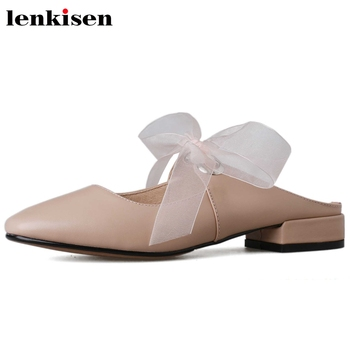 Lenkisen new handmade high quality princess style square toe riband low heels slip on mules beauty lady sweet fairy sandals L3f2