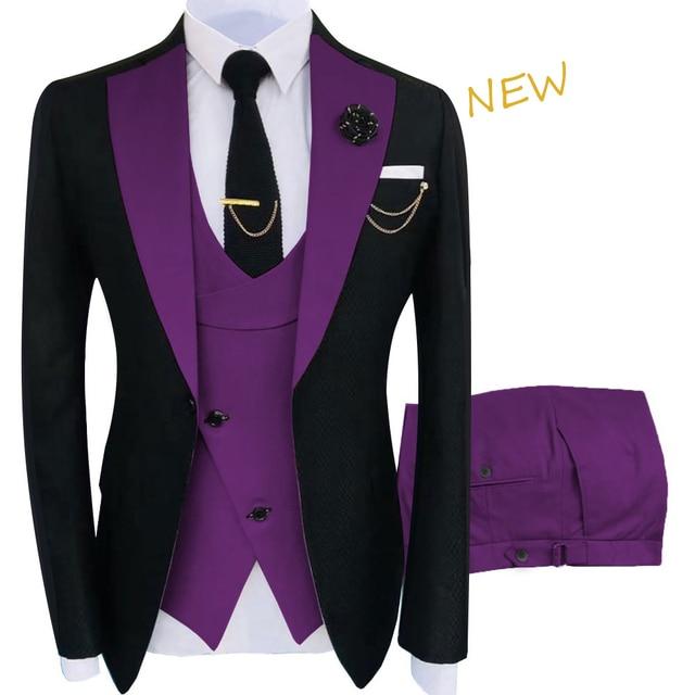 New Costume Homme Popular Clothing Luxury Party Stage Men's Suit Groomsmen Regular Fit Tuxedo 3 Peice Set Jacket+Trousers+Vest 5