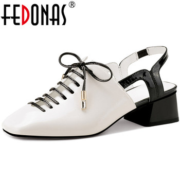 FEDONAS Sweet Butterfly Knot Women Sandals Genuine Leather High Heels Pumps 2020 Spring Summer Dancing Party Shoes Woman Heels