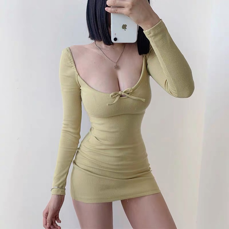 Low cut U neck bow tie bodycon dress sexy dresses woman party night elastic long sleeve open back autumn and winter|Dresses| - AliExpress