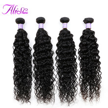 Alishes Water Wave 4 Bundle Deals 100% Real Human Hair Weave Bundles Free Shipping Remy Hair Extensions Peruvian Hair Bundles(China)